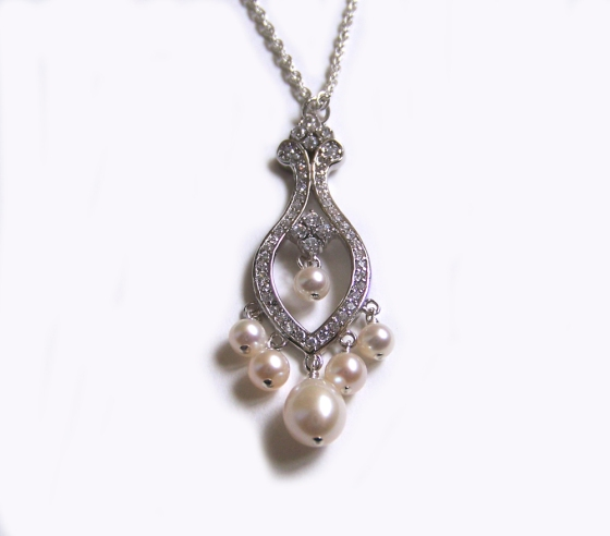 Chandelier CZ Necklace with Pearls