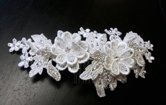 Embellished White Lace Comb by One World Designs