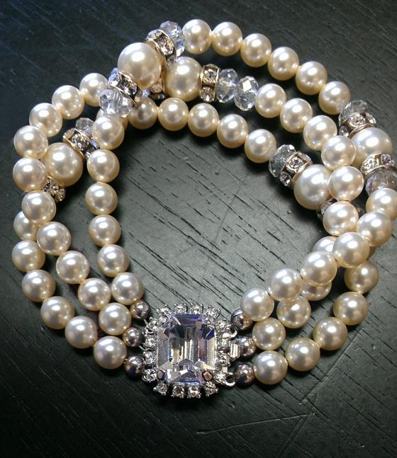 Swarovski Pearl Bracelet with Rhinestone Clasp